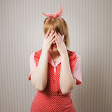 Worried housewife Stock Images