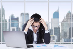 Worried Indian entrepreneur in office Royalty Free Stock Images
