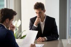 Worried job applicant waiting hiring decision stock photo