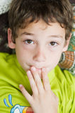 Worried little boy Stock Images