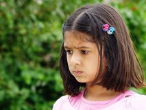 Worried little girl. Portrait of little girl appearing worried Royalty Free Stock Images