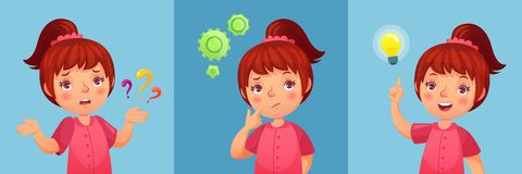 Worried little girl. Child ask question, confused and found questions answers. Thoughtful little girl cartoon vector stock illustration