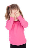 Worried little girl in pink Stock Image