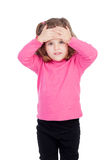 Worried little girl in pink Stock Photos