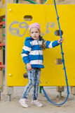 Worried little girl playing on the playground Royalty Free Stock Images