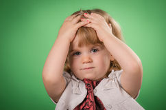 Worried little girl Stock Images