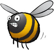 Worried looking busy bee cartoon chararcter Royalty Free Stock Image