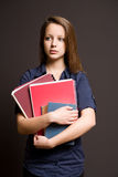 Worried looking pretty young student. Royalty Free Stock Images