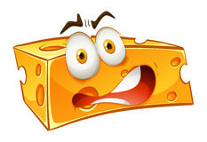 Worried looking yellow cheese. Illustration royalty free illustration