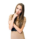 Worried looking young brunette. Royalty Free Stock Photos