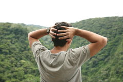 Worried man. Young man worried in the mountain Stock Images