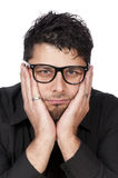 Worried man. Portrait of a worried man isolated on white stock photography