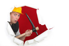 Worried man with ax Stock Photos