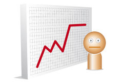 Worried man and with chart Royalty Free Stock Photo