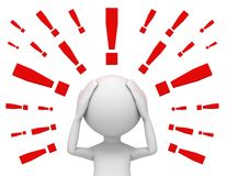 Worried man and exclamation marks 3d illustration Stock Image