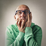 Worried man expressing his anxiety Stock Photo