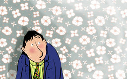 Worried man. Man with worried expression in front of floral wallpaper royalty free illustration