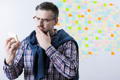 Worried man and forgotten task Stock Photos