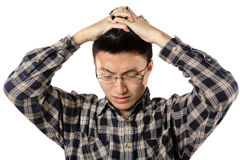 Worried man having headache Royalty Free Stock Photography
