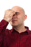 Worried man having headache Royalty Free Stock Photography