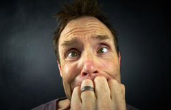 Worried Man. The head of a worried man stock photography