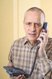 Worried Man on Phone Stock Images