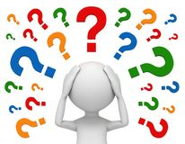 Worried man and question marks 3d illustration Royalty Free Stock Photography