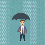Worried man in rain. Flat style illustration of a worried man standing in rain with umbrella vector illustration