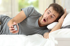 Worried man running out of time in the morning Stock Photography