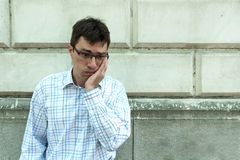 A worried man on the street. A adult man being worried and scared on the street.r royalty free stock images