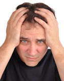 Worried Man with Stress Closeup royalty free stock image