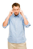 Worried man suffering headache pain depression Royalty Free Stock Photography