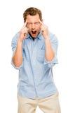 Worried man suffering headache pain depression Stock Image
