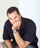 Worried Man Thinking Portrait Stock Photography
