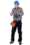 Worried manual worker Royalty Free Stock Images