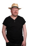 Worried middle aged man in straw hat Royalty Free Stock Photos