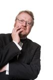 Worried middle aged man in tuxedo on white Stock Photo
