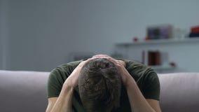 Worried military man suffering posttraumatic stress disorder, negative memories