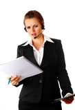 Worried modern business woman with headset Royalty Free Stock Photo