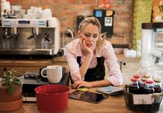 Worried new business owner calculating finances. Young worried new business woman calculating finances royalty free stock images