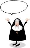 Worried Nun With Speech Bubble Waving At Us Royalty Free Stock Photography