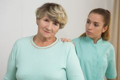 Worried old female Royalty Free Stock Photo