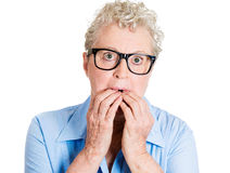 Worried old woman Stock Image
