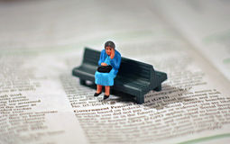 Worried old woman - pension Stock Photos