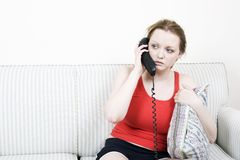 Worried On The Phone Royalty Free Stock Images