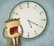 Worried out of time. Illustration of a businessman worried out of time royalty free illustration