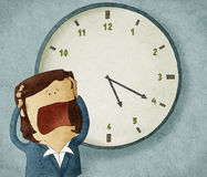 Worried out of time. Illustration of a businesswoman worried out of time stock illustration