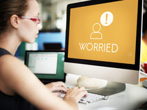 Worried Person Icon Exclamation Mark Concept Stock Photos