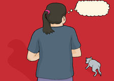 Worried Person Looking at Stray Dog. Rear view illustration of person looking at stray dog Royalty Free Stock Photography