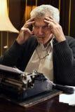Worried Retro Senior Man writer Royalty Free Stock Photo